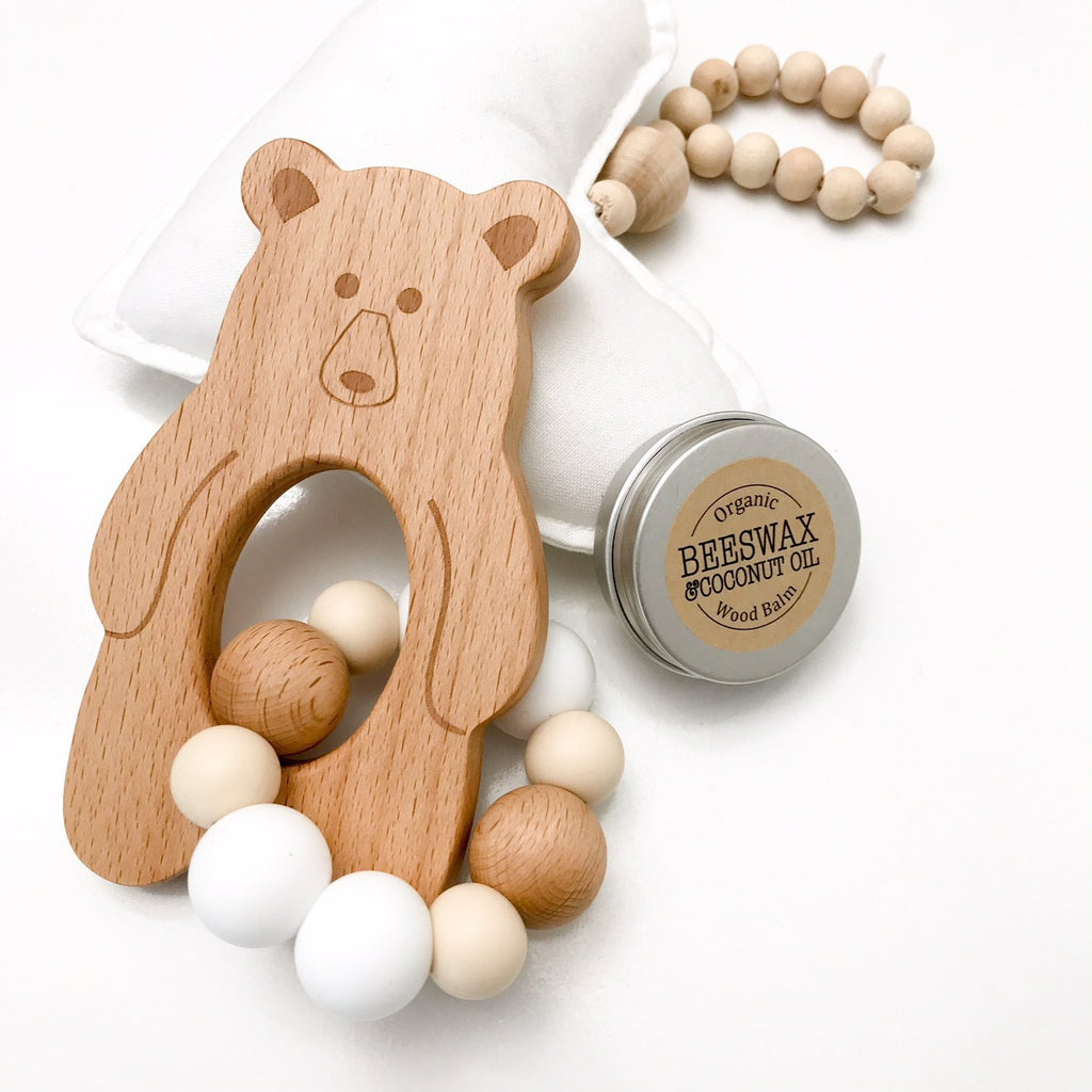 Silicone and Beach Wood Teether-Bear