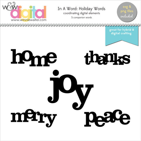In a Word: Holiday Words Digital Elements