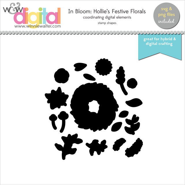 In Bloom: Hollie's Festive Florals Digital Elements