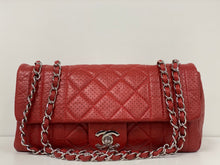 Load image into Gallery viewer, CHANEL RED LEATHER RECTANGULAR FLAP SHOULDER BAG