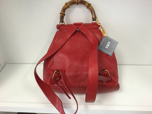 GUCCI BAMBOO RED LEATHER BACKPACK