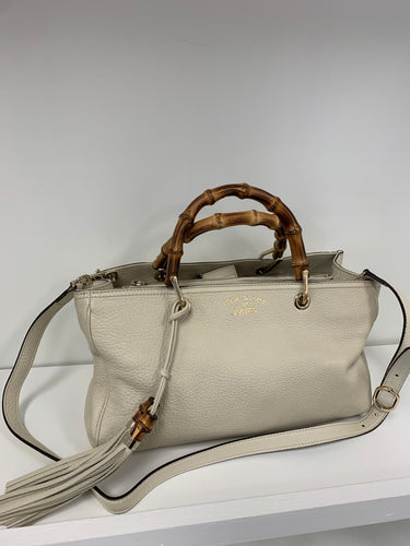 Gucci Leather Bamboo Handle Tote Shopper Bag + Strap