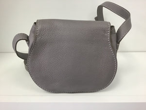 CHLOE 'MARCIE' SMALL GREY LEATHER CROSSBODY BAG