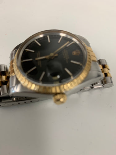 Rolex Oyster Perpectual Date 15053 two-tone s.s. 18k gold w/ black dial