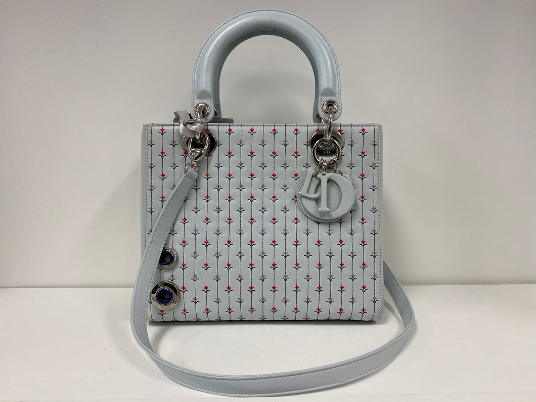 CHRISTIAN DIOR 'LADY DIOR MM' FLORAL LIMITED EDITION LEATHER HANDBAG