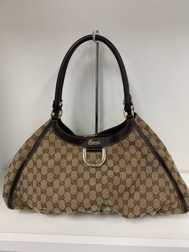 GUCCI  Large Canvas D-Ring Hobo Bag