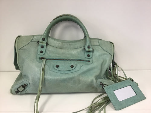 "BALENCIAGA ""CITY"" DISTRESSED LEATHER HANDBAG"