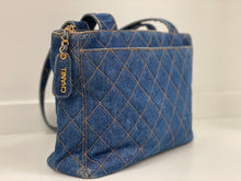 Load image into Gallery viewer, CHANEL VINTAGE  DENIM SHOPPER BAG