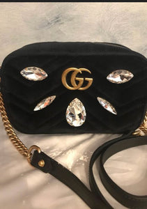 GUCCI - Velvet Matellasse Marquise Crystals Mini GG Crossbody bag
