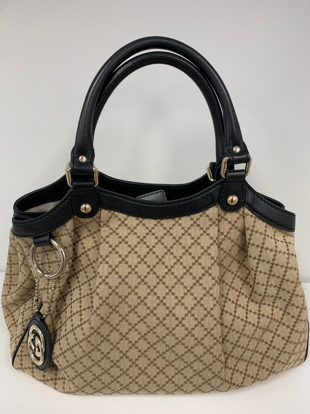 GUCCI Vintage Canvas Web Handbag