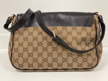 Load image into Gallery viewer, GUCCI BEIGE MONOGRAM CANVAS FLAP SHOULDER BAG