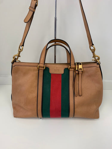 GUCCI Leather Striped Logo Tote Bag with Strap