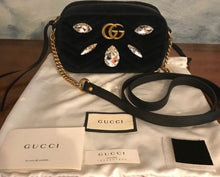 Load image into Gallery viewer, GUCCI - Velvet Matellasse Marquise Crystals Mini GG Crossbody bag