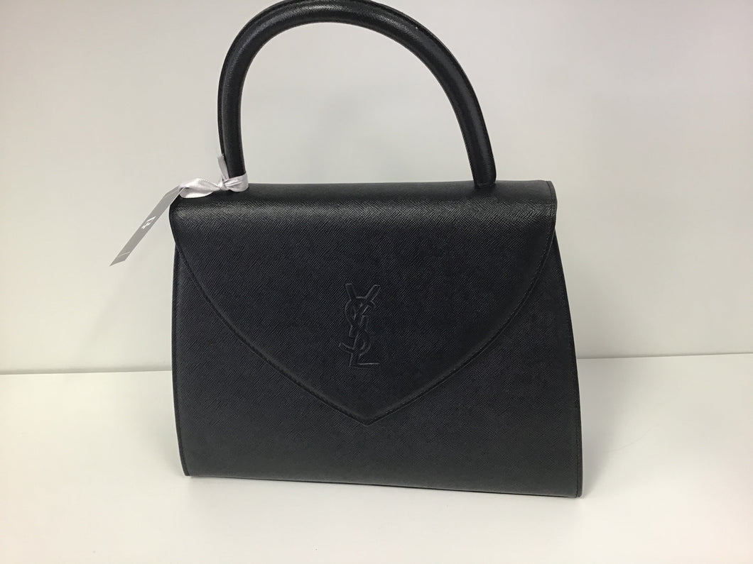 YVES ST. LAURENT TRIANGLE FLAP LEATHER HANDBAG