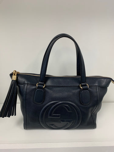 GUCCI SOHO Logo Leather Tote Bag