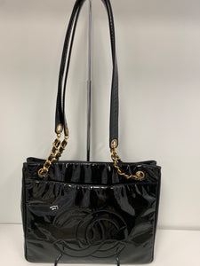 CHANEL Vintage Patent Leather CC logo with gold tone hardware