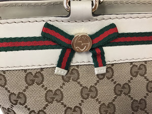 GUCCI MAYFAIR GG CANVAS & WEB TOTE BAG