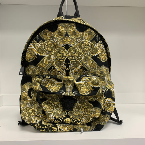 Versace Medusa Head Black and Gold Backpack
