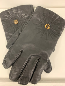 GUCCI LOGO BLACK LEATHER GLOVES