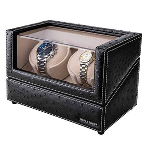 TRIPLE TREE leather double watch winder-side