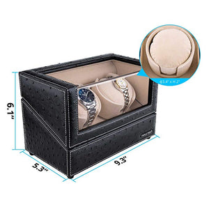 TRIPLE TREE 2+0 leather watch winder-details