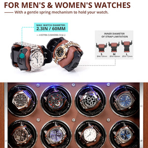[ New Arrivals ] 18 Pieces Watch Winder in Walnut Wooden Finish