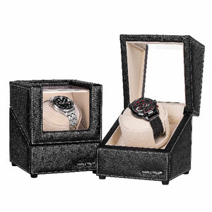 Single Watch Winder of Black Ostrich Leather Exterior, TRIPLE TREE