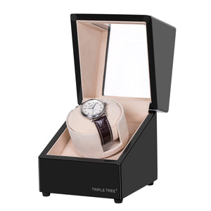 TRIPLE TREE black wood single watch winder-open