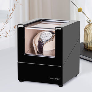 TRIPLE TREE black wood single watch winder-scene