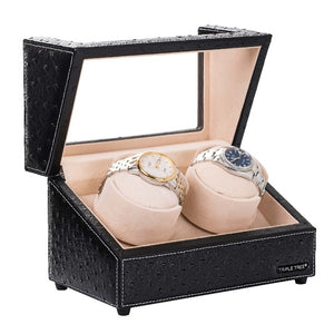 Deluxe Double Watch Winder Display Box in Black Leather, TRIPLE TREE