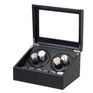 Wooden Watch Winder 4+6 Piano Black with Extremely Silent Motor, TRIPLE TREE