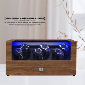 Watch Winder with 6 Winder Space, Pear Wood Quad Watch Box, TRIPLE TREE