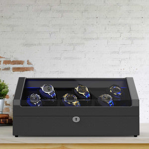 12 Pieces Watch Winder with Storage, Carbon fiber