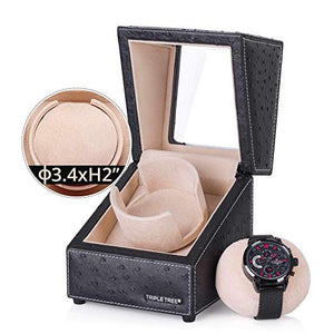TRIPLE TREE black leather single watch winder-details