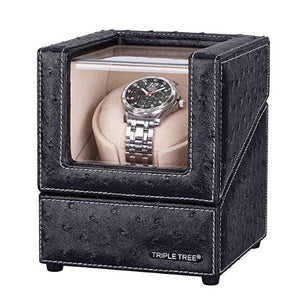 TRIPLE TREE black leather single watch winder-main
