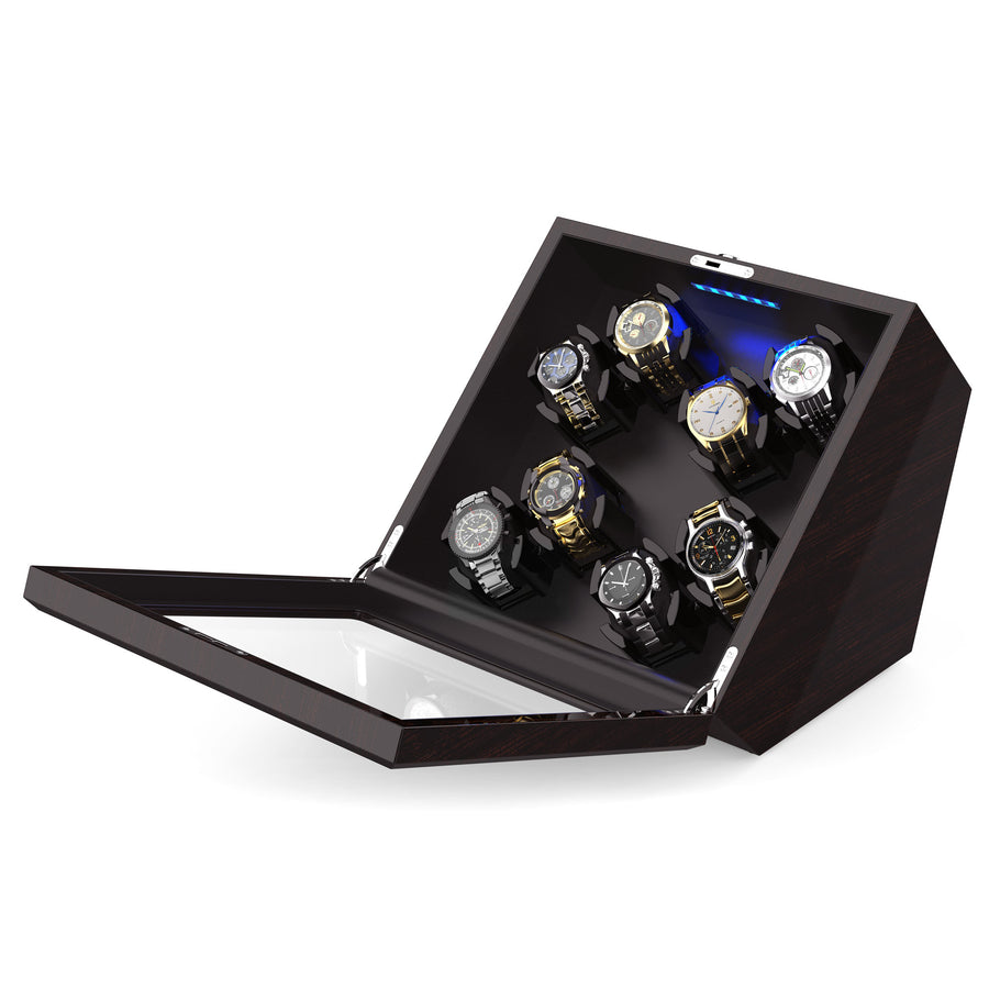 Wooden/ Carbon Fiber Eight Watch Winder Box with 8 Winding Space, JINS&VICO