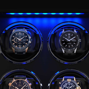 8 Pieces Wooden Watch Winder Box with Built-in LED, JINS&VICO