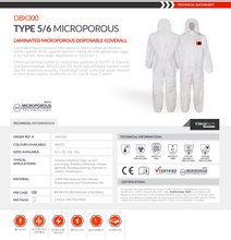 Load image into Gallery viewer, Traega DBX 300 Cat III Type 5/6 Anti-Static Disposable Microporous Coverall - Various Sizes - White