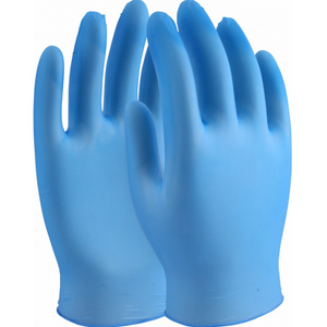 Disposable Blue Vinyl Powdered Gloves - Size medium - Box of 100