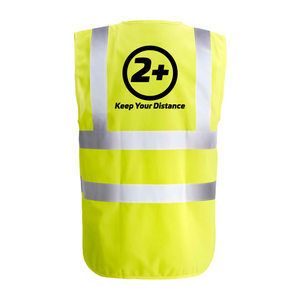 Social Distancing 2+ - Hi-vis Waistcoat EN471.2 - YELLOW Various Sizes