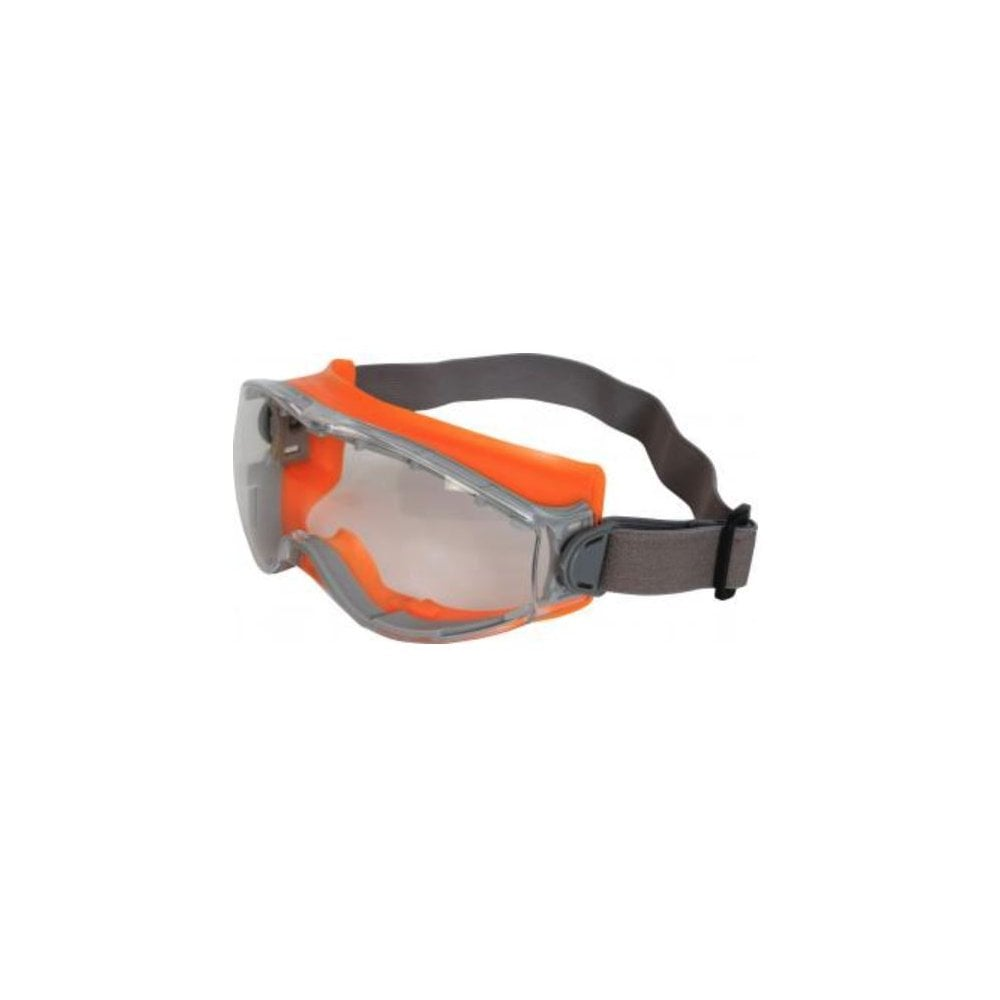Caspian Orange Safety Goggle Clear AF/AS Polycarb Goggle