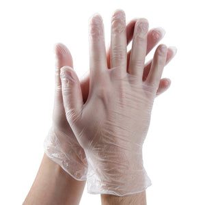 Disposable Clear Vinyl Powder Free Gloves - Various Sizes - Box of 100