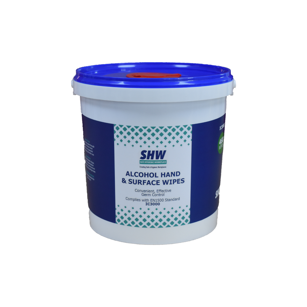 SHW Alcohol Hand & Surface Wipes - Tub of 460 Wet Wipes