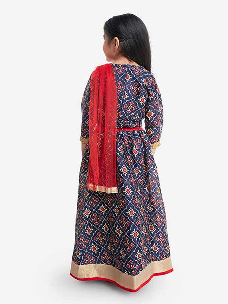 [Available] Navy Printed Floral Lengha & Red Dupatta [0.6M to 10yrs]