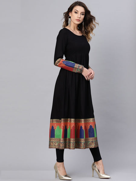 [Available] Anarkali in Black with Colourful Border Design (Size XXL)