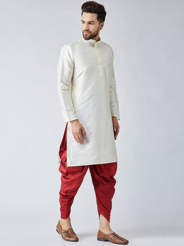 [Available] Off-White and Red Kurta with Harem Pants