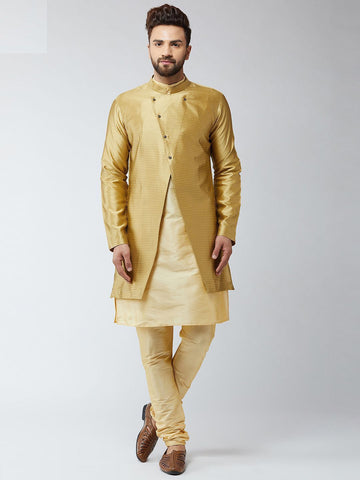 [Available] Gold Sherwani Set with Royal Coat