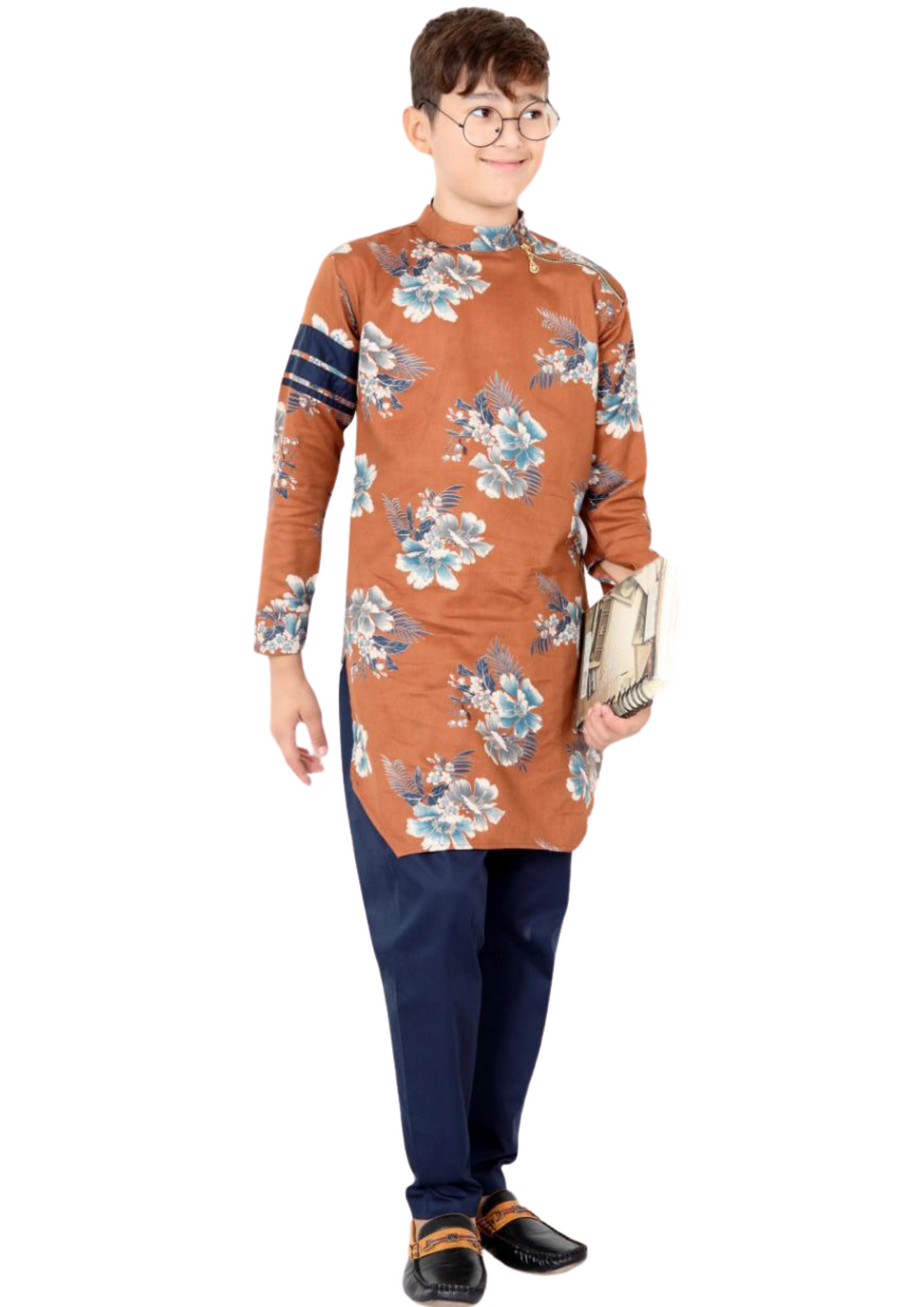 Boys Orange Floral Print Designer Kurta Set [Pre-Order]