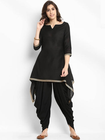 [Available] Black Slit Cut Design Kurta with Black Dhoti Pants Set