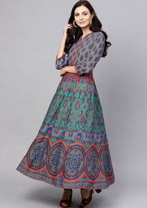 [SOLD OUT] Peacock Blue & Green Printed Maxi Dress
